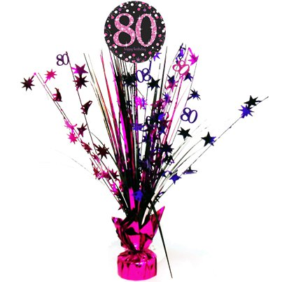 Pink Celebration Age 80 Table Centrepiece - 46cm