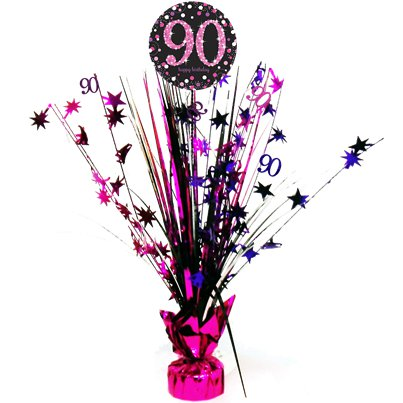 Pink Celebration Age 90 Table Centrepiece - 46cm