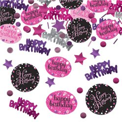 Pink Sparkling Celebration Happy Birthday Confetti