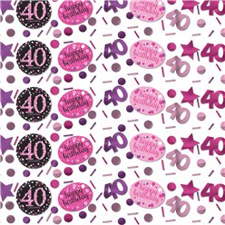 Pink Celebration Age 40 Confetti - 34g