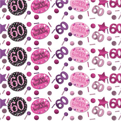 Pink Celebration Age 60 Confetti - 34g