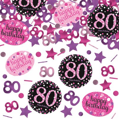 Pink Celebration Age 80 Confetti - 34g