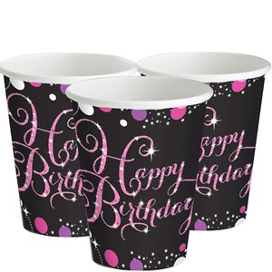 Pink Celebration Happy Birthday Party Cups - 266ml Paper Party Cups