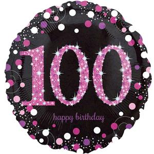 100th Birthday Pink Sparkling Celebration Balloon Bouquet - Assorted Foil 18