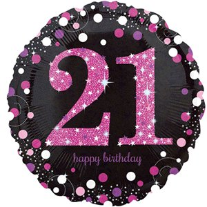 21st Birthday Pink Sparkling Celebration Balloon Bouquet - Assorted Foil 18
