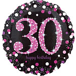 "Happy 30th Birthday Pink Sparkling Celebration Balloon - 18"" Foil"