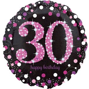 30th Birthday Pink Sparkling Celebration Balloon Bouquet - Assorted Foil 18