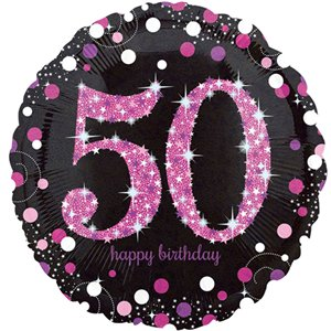 50th Birthday Pink Sparkling Celebration Balloon Bouquet - Assorted Foil 18