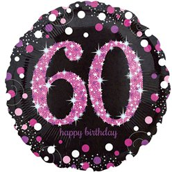 "Happy 60th Birthday Pink Sparkling Celebration Balloon - 18"" Foil"