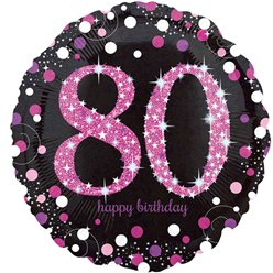 "Happy 80th Birthday Pink Sparkling Celebration Balloon - 18"" Foil"