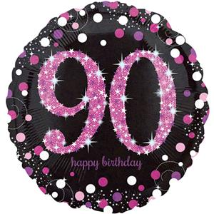 Happy 90th Birthday Pink Sparkling Celebration Balloon - 18