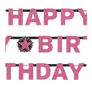 Pink Sparkling Celebration Happy Birthday Holographic Letter Banner - 2.1m