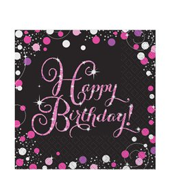 Pink Sparkling Celebration Happy Birthday Luncheon Napkins - 2ply Paper