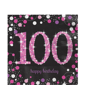 Pink Celebration Age 100 Lunch Napkins - 33cm