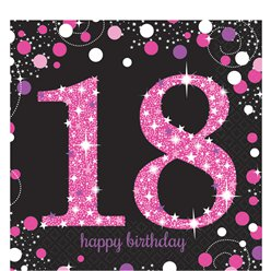 Pink Celebration Age 18 Lunch Napkins - 2ply Paper