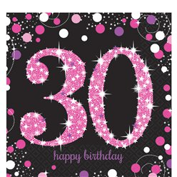 Pink Celebration Age 30 Lunch Napkins - 2ply Paper