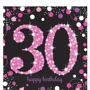 Pink Celebration 30th Birthday Party Pack - Deluxe Party Pack For 8