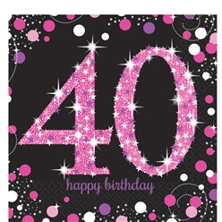 Pink Celebration Age 40 Lunch Napkins - 2ply Paper