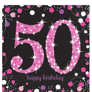 Pink Celebration Age 50 Paper Napkins - 33cm