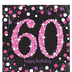 Pink Celebration Age 60 Lunch Napkins - 2ply Paper