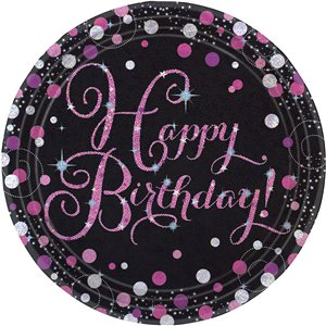 Pink Celebration Happy Birthday Prismatic Plates - 23cm Paper Party Plates