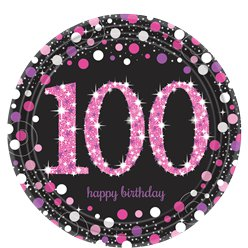 Pink Celebration Age 100 Plates - 23cm Paper Party Plates