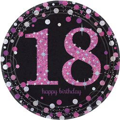 Pink Celebration Age 18 Plates - 23cm Paper Party Plates