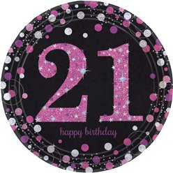 Pink Celebration Age 21 Plates - 23cm Paper Party Plates