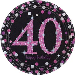 Pink Celebration Age 40 Plates - 23cm Paper Party Plates