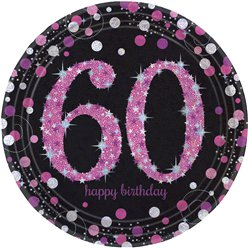 Pink Celebration Age 60 Plates - 23cm Paper Party Plates
