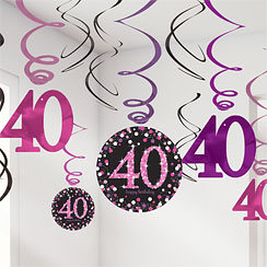 Pink Celebration Age 40 Hanging Swirls - 45cm