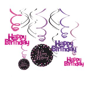 Pink Sparkling Celebration Happy Birthday Hanging Swirls - 45cm