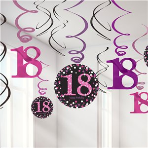 Pink Celebration Age 18 Hanging Swirls - 45cm