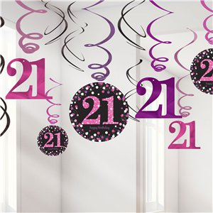 Pink Celebration Age 21 Hanging Swirls - 45cm