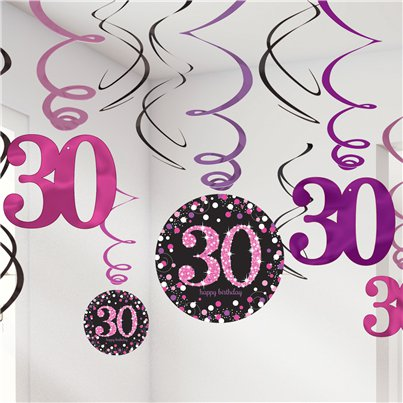 Pink Celebration Age 30 Hanging Swirls - 45cm