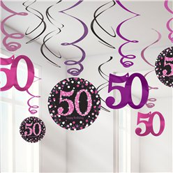 Pink Celebration Age 50 Hanging Swirls - 45cm