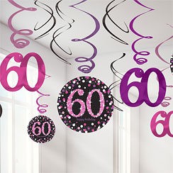Pink Celebration Age 60 Hanging Swirls - 45cm