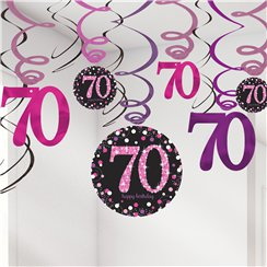 Pink Celebration Age 70 Hanging Swirls - 45cm