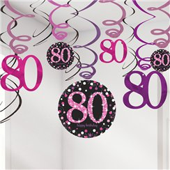 Pink Celebration Age 80 Hanging Swirls - 45cm
