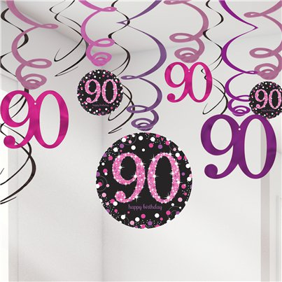Pink Celebration Age 90 Hanging Swirls - 45cm