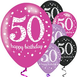 "Sparkling Celebration Pink Mix 50th Balloons - 11"" Latex"