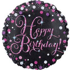 "Happy Birthday Pink Sparkling Celebration Balloon - 18"" Foil"