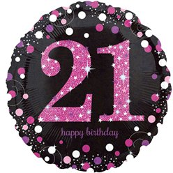 Happy 21st Birthday Pink Sparkling Celebration Balloon - 18