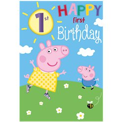 Peppa Pig 1st Birthday Card