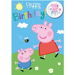 Peppa Pig Happy Birthday Card & Badge