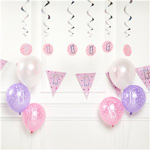 Pink 13th Birthday Glitz Decoration Kit - Value