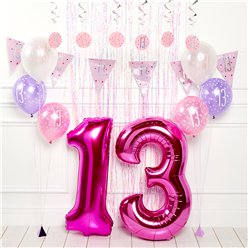 Pink 13th Birthday Glitz Decoration Kit - Premium
