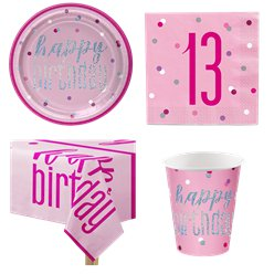 Pink 13th Birthday Glitz Party Pack - Value Pack for 8