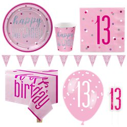 Pink 13th Birthday Glitz Party Pack - Deluxe Pack for 8