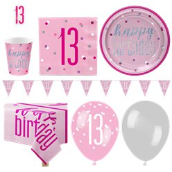 Pink 13th Birthday Glitz Party Pack - Deluxe Pack for 16
